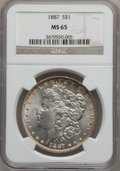 Morgan Dollars: , 1887 $1 MS65 NGC. NGC Census: (25269/3977). PCGS Population(14700/1433). Mintage: 20,290,710. Numismedia Wsl. Price for pr...