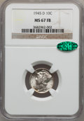 Mercury Dimes: , 1945-D 10C MS67 Full Bands NGC. CAC. NGC Census: (317/10). PCGSPopulation (224/4). Mintage: 40,245,000. Numismedia Wsl. Pr...