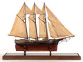 Maritime:Decorative Art, A SAILOR'S SHIP MODEL OF A THREE MASTED MERCHANT VESSEL. AmericanMarine and Ship Model Gallery, Salem, Massachusetts. 23 x ...