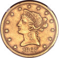 Liberty Eagles, 1867-S $10 -- Improperly Cleaned -- NGC Details. AU....