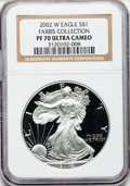 Modern Bullion Coins, 2002-W $1 One Ounce Silver Eagle PR70 Ultra Cameo NGC. EX: FarrisCollection. NGC Census: (3503). PCGS Population (1143). ...