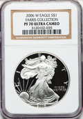 Modern Bullion Coins, 2006-W $1 One Ounce Silver Eagle PR70 Ultra Cameo NGC. EX: FarrisCollection. NGC Census: (17249). PCGS Population (2182). ...