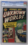 "Golden Age (1938-1955):Science Fiction, Journey Into Unknown Worlds #4 Davis Crippen (""D"" Copy) pedigree(Atlas, 1951) CGC VF- 7.5 Off-white pages. Russ Heath and M..."