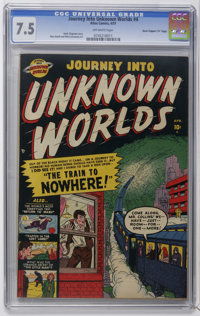 "Journey Into Unknown Worlds #4 Davis Crippen (""D"" Copy) pedigree (Atlas, 1951) CGC VF- 7.5 Off-white pages. Ru..."