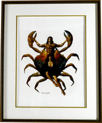 "Boris Vallejo - ""Cancer the Crab"" Fantasy Zodiac #7 Painting Original Art (1987). Boris Vallejo explores the e..."