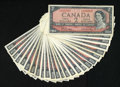 Canadian Currency: , BC-38b $2 1954 Modified Portrait Twenty-five Examples.. This lot isan A/U through Z/U prefix letter collection. Q/U was not... (Total:25 notes)