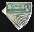 Canadian Currency: , Circulated Canadian Currency including $1 1954 Modified Portrait(2); $1 1973 (4); $2 1954 Modified Portrait (2); $5 1973; $...(Total: 11 notes)