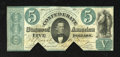 Confederate Notes:1861 Issues, T33 $5 1861. This is an interesting note that carries a set of cut out cancels and a set of cut cancels. An attempted repair...