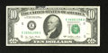 Error Notes:Ink Smears, Fr. 2023-E $10 1977 Federal Reserve Note. Extremely Fine.. A nicegreen ink smear that approaches a half inch in width at it...