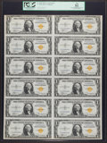 Small Size:World War II Emergency Notes, Fr. 2306 $1 1935A North Africa Silver Certificate. Uncut Sheet.PCGS Apparent New 62.. ...