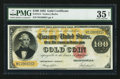 Large Size:Gold Certificates, Fr. 1214 $100 1882 Gold Certificate PMG Choice Very Fine 35 Net.....