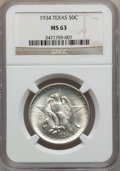 Commemorative Silver: , 1934 50C Texas MS63 NGC. NGC Census: (155/2010). PCGS Population(424/3053). Mintage: 61,463. Numismedia Wsl. Price for pro...