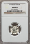 Mercury Dimes, 1916 10C MS64 Full Bands NGC. NGC Census: (611/1043). PCGSPopulation (1242/1329). Mintage: 22,180,080. Numismedia Wsl. Pri...
