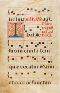 Books:Prints & Leaves, Antiphonal Manuscript Leaf on Vellum. Ca. 1500s. Large leaf frommissal or antiphoner containing 5 bars of music on each sid...