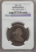 Early Half Dollars: , 1806 50C Pointed 6, Stem -- Obv Scratched -- NGC Details. Good. NGCCensus: (4/1832). PCGS Population (5/1029). Mintage: 83...