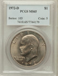 Eisenhower Dollars: , 1972-D $1 MS65 PCGS. PCGS Population (1888/374). NGC Census:(740/306). Mintage: 92,548,512. Numismedia Wsl. Price for prob...