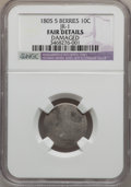 Early Dimes, 1805 10C 5 Berries -- Damaged -- NGC Details. Fair. JR-1. NGCCensus: (8/256). PCGS Population (17/381). Mintage: 120,780....
