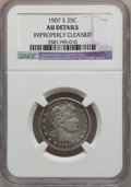 Barber Quarters: , 1907-S 25C -- Improperly Cleaned -- NGC Details. AU. NGC Census:(1/55). PCGS Population (6/73). Mintage: 1,360,000. Numism...