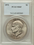 Eisenhower Dollars: , 1973 $1 MS65 PCGS. PCGS Population (1051/84). NGC Census: (383/23).Mintage: 2,000,056. Numismedia Wsl. Price for problem f...
