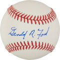 Baseball Collectibles:Balls, Gerald Ford Single Signed Baseball. ...