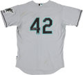 Baseball Collectibles:Uniforms, 2009 Scott Proctor Florida Marlins Game Worn Signed Jackie Robinson Day Jersey MLB Authenticated. ...