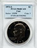 Proof Eisenhower Dollars: , 1973-S $1 Clad PR68 Cameo PCGS. PCGS Population (133/79). NGCCensus: (552/490). Numismedia Wsl. Price for problem free NG...