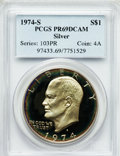 Proof Eisenhower Dollars: , 1974-S $1 Silver PR69 Deep Cameo PCGS. PCGS Population (12628/10).NGC Census: (1506/0). Numismedia Wsl. Price for problem...