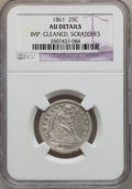 Seated Quarters, 1861 25C -- Improperly Cleaned, Scratched -- NGC Details. AU. NGCCensus: (7/473). PCGS Population (31/472). Mintage: 4,854...