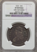 Bust Half Dollars: , 1820 50C Curl Base 2, Small Date -- Obv Repaired -- NGC Details.XF. NGC Census: (22/1557). PCGS Population (12/140). Minta...