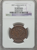 Large Cents: , 1857 1C Large Date -- Scratches -- NGC Details. VF. N-1. NGCCensus: (4/527). PCGS Population (0/430). Mintage: 333,456. N...