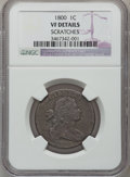 Large Cents: , 1800 1C -- Scratches -- NGC Details. VF. NGC Census: (4/63). PCGSPopulation (7/60). Mintage: 2,822,175. Numismedia Wsl. Pr...
