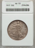 Walking Liberty Half Dollars: , 1917 50C AU53 ANACS. NGC Census: (10/1932). PCGS Population(28/2442). Mintage: 12,292,000. Numismedia Wsl. Price for probl...