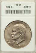 Eisenhower Dollars: , 1978 $1 MS65 ANACS. NGC Census: (455/136). PCGS Population (1165/344). Mintage: 25,702,000. Numismedia Wsl. Price for probl...