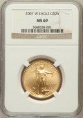 Modern Bullion Coins, 2007-W $25 Half-Ounce Gold Eagle MS69 NGC. NGC Census: (1177/2299).PCGS Population (999/510). Numismedia Wsl. Price for p...