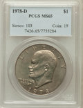 Eisenhower Dollars: , 1978-D $1 MS65 PCGS. PCGS Population (966/531). NGC Census:(3918/576). Mintage: 33,012,890. Numismedia Wsl. Price for prob...