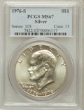 Eisenhower Dollars: , 1976-S $1 Silver MS67 PCGS. PCGS Population (3269/460). NGC Census: (724/71). Mintage: 11,000,000. Numismedia Wsl. Price fo...