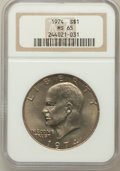 Eisenhower Dollars: , 1974 $1 MS65 NGC. NGC Census: (591/56). PCGS Population (969/98). Mintage: 27,366,000. Numismedia Wsl. Price for problem fr...