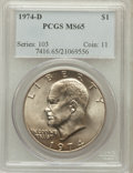 Eisenhower Dollars: , 1974-D $1 MS65 PCGS. PCGS Population (1470/451). NGC Census: (6415/608). Mintage: 45,517,000. Numismedia Wsl. Price for pro...