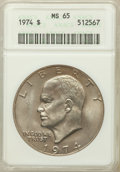 Eisenhower Dollars: , 1974 $1 MS65 ANACS. NGC Census: (591/56). PCGS Population (969/98). Mintage: 27,366,000. Numismedia Wsl. Price for problem ...