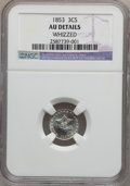 Three Cent Silver: , 1853 3CS -- Whizzed -- NGC Details. AU. NGC Census: (2/631). PCGSPopulation (20/731). Mintage: 11,400,000. Numismedia Wsl....