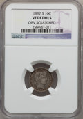 Barber Dimes: , 1897-S 10C -- Obv Scratched -- NGC Details. VF. NGC Census: (1/70).PCGS Population (3/139). Mintage: 1,342,844. Numismedia...