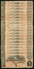 Confederate Notes:1864 Issues, T69 $5 1864 86 Examples.. ... (Total: 86 notes)
