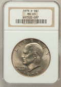 Eisenhower Dollars: , 1978-D $1 MS65 NGC. NGC Census: (3918/576). PCGS Population(966/531). Mintage: 33,012,890. Numismedia Wsl. Price for probl...