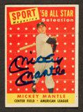 Baseball Cards:Autographs, 1958 Topps Mickey Mantle Signed All Star Card....