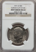 Errors, 1971-D 50C Kennedy Half Dollars--Curved Clip @ 9:00-- MS64 NGC. NGCCensus: (58/511). PCGS Population (139/1307). Mintage: ...