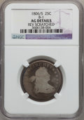 Early Quarters: , 1806/5 25C -- Rev Scratched -- NGC Details. AG. B-1. NGC Census:(1/106). PCGS Population (0/192). Numismedia Wsl. Price ...