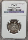 Seated Quarters: , 1859 25C -- Improperly Cleaned -- NGC Details. AU. NGC Census:(4/90). PCGS Population (12/85). Mintage: 1,344,000. Numisme...