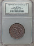 Large Cents, 1837 1C Plain Cords, Medium Letters Head of 36 -- ImproperlyCleaned -- NCS. AU Details. N-13. AU Details. NGC Census: ...