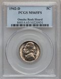 Jefferson Nickels: , 1942-D 5C MS65 Full Steps PCGS. EX: Omaha Bank Hoard. PCGSPopulation (420/581). NGC Census: (58/115). Numismedia Wsl. Pri...