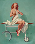 Pin-up and Glamour Art, GIL ELVGREN (American, 1914-1980). Doctor, Are All Those FellowsInterns?, Brown & Bigelow calendar pin-up, 1946. Oil on...